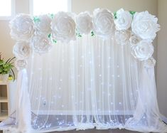 Wedding backdrop by Seattle Giant Flowers. Peony backdrop. Peony paper flowers