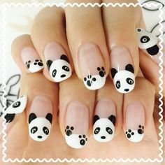 I found a cute nail ♪ Nail Art Blog, New Nail Art, Nail Art Hacks, Panda Nail Art, Animal Nail Art, Cute Nail Art Designs, Cute Acrylic Nails, Cute Nails, Nail Art Disney