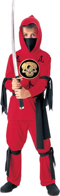 Boys Red Ninja Size Medium 5 - 7 Years Costume  click picture to enlarge        Description  This Great Fancy Dress Includes Hooded Shirt Face Scarf Waist Sash, Pants, Arm And Leg Ties. The Ninja costume is one of the more classic costumes and this new RED NINJA! brings it back to life.     Measurements Child Med Size 5-7 Years    · Height 127cm to 137cm, Waist 68cm to 76cm $39.99