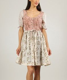 Another great find on #zulily! Old Pink Floral Button-Up Scoop Neck Dress by Ian Mosh #zulilyfinds
