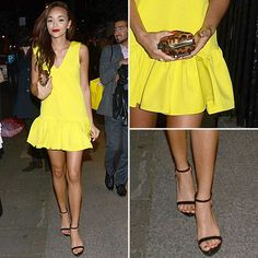 yellllow mini dresss. she has the best style hands down!...i want all her clothes lol