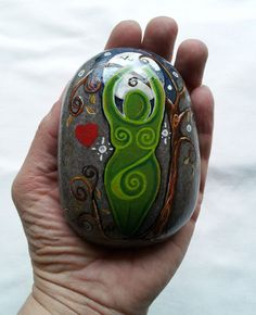 Rock Goddess. Sea Stone Spiral Goddess Altar Art. WITCH Pagan Fae Wicca Cauldron