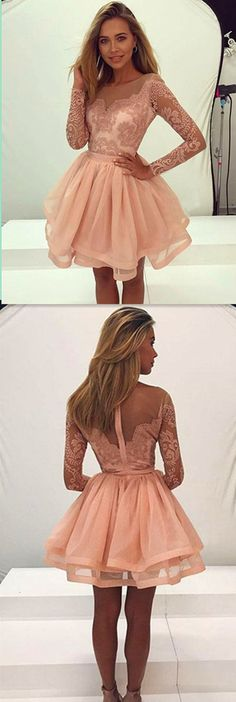 Long Sleeve Lace Homecoming Dress,Short Prom Dresses,Cocktail Dress,Homecoming Dress,Graduation Dress,Party Dress,Short Homecoming Dress