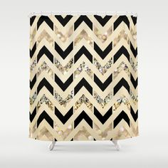 Black   Gold Glitter Herringbone Chevron on Nude Cream Shower CurtainShower Curtain  Red and Green Triangles by Kalilaine   Cream  . Black And Cream Shower Curtain. Home Design Ideas