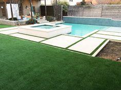 Artificial grass installation, landscaping around pool, backyard landscapin Artificial Turf Grass, Artificial Grass Installation, Turf Installation, Backyard Pool Designs, Swimming Pools Backyard, Landscaping Around Pool, Backyard Landscaping, Deck, Concrete