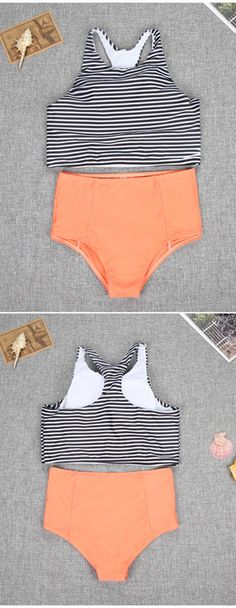 Stripes Bikini Top and High Waist Bottom Two Piece Suit Ready for anything that might come to you on a Sunday? This bathing suit would definitely bring you Good Day. Get more surprised ones at FIREVOGUE. Summer Bathing Suits, Cute Bathing Suits, Target Bathing Suits, Summer Wear, Summer Outfits, Cute Outfits, Style Summer, Winter Outfits, Striped Bikini