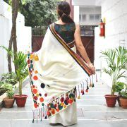 Off White Multicoloured Polka Dots Embroidered Cotton Saree with Hand Block Printed Blouse - Rustorange