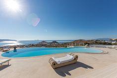 ALEGRIA villa | view from pool level | Mykonos Mykonos Island, Fantasy Island, Greece Islands, Luxurious Bedrooms, Luxury Villa, Terrace, Photo Galleries, Vacation, Gallery