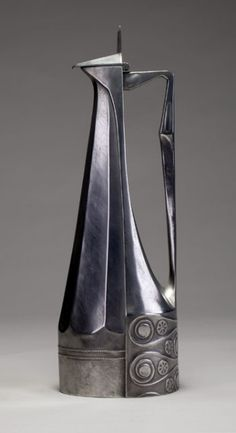 Pewter decanter by Josef Maria Olbrich.