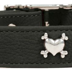 Rockin' Doggie Black Leather with Heart & Bones Rivets Dog Collar