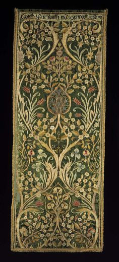 heaveninawildflower: Portière made by Morris & Co (1892–93). 'Oak' green silk damask embroidered with silk (one of four). Designed by William Morris (1834–1896) and embroidered by May Morris (1862–1938). Text reads 'Growth. Sed & Bloweth Med. & Springeth Wod. Nu.' Image and text courtesy MFA Boston.
