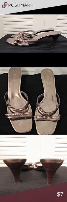 Calvin Klein Bronze Sandals w/Trinkets on Vamp Calvin Klein Bronze Metallic Slip On Sandals w/Trinkets on Vamp Size: 9 Calvin Klein Shoes Sandals