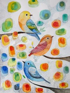 Birds in the tree- Bird Art - Nursery Decor- Wall Art- Original Watercolor Painting- Color-Gift