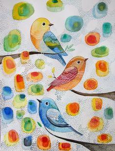 Birds in the tree- Bird Art - Nursery Decor- Wall Art- Original Watercolor…
