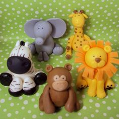 Safari animals cupcake or cake toppers to give the dessert that extra special touch.