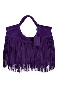 gorgeous--double handle fringed suede tote - ralph lauren f.w2012 stylebop