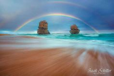 Gibson's Beach - Great Ocean Road, VIC, Australia.Double rainbow over the twin Apostles