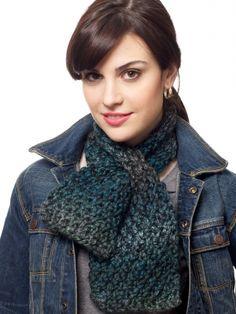 Keyhole Scarf | Yarn | Free Knitting Patterns | Crochet Patterns | Yarnspirations