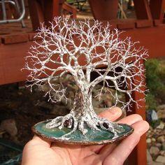 Wire Tree Of Life Grove Tree Spirits sculpture Green Brazil Quartz Geode Agate slice, Quartz Crystal, Garnet, original art, gift ideas
