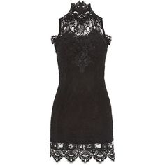 High Neck Lace Applique Dress by Rare (265 SAR) ❤ liked on Polyvore featuring dresses, black, high neck dress, mini dress, lace dress, high neck bodycon dress and high neck lace dress