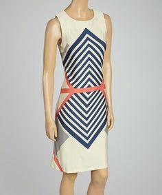Look at this #zulilyfind! Sand & Coral Chevron Shift Dress by AA Studio #zulilyfinds