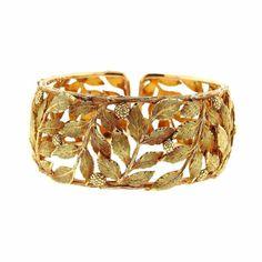 Mario Buccellati Classic Leaves Gold Cuff Bracelet   1stdibs.com