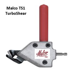 """The time-saving TURBOSHEAR Original Model No. TS1 inserts directly into the chuck of a standard 1200 rpm A/C or cordless drill. It's that easy to convert your power drill to a power shear!  This rugged but inexpensive accessory cuts straight and to the left and is capable of navigating tight curved patterns and squares in heavy 20-gauge (1.02 mm) galvanized steel. Blind cuts require only a 1/2""""(12.7 mm) starting hole."""