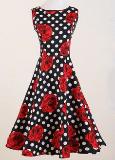 0cc7c5a356c5 Candow Look Vintage Midi Polka Dot Red Floral ALine Womens Dress Rockabilly  ** You can get additional details at the image link.