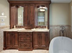 A classic bathroom set up, but there is a reason they call it classic—because it works! Double vanity with drawers in between. Did you notice the electrical... - Houzz