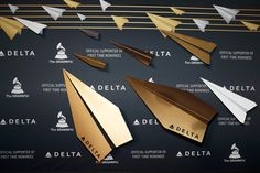 Delta Airlines Grammy Party: Official Grammy partner Delta Air Lines hosted its pre-awards event on February 9 at Beauty & Essex, adjacent to the new Dream Hollywood hotel. New this year, celebrities on the red carpet were asked to stop and sign two oversize metallic airplanes, mimicking the form of paper airplanes, which decorated the arrivals line.
