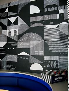 Hannah Waldron with Graphic Thought Facility - wallpaper for Pizza Express