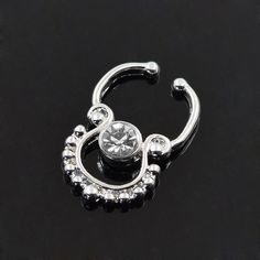 Fake Cheater Septum Nose Rings U-shaped Loop with Big CZ Clip On Septum clicker Nose Rings Nose Septum Clicker Nose Piercings