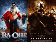 This one is a blatant rip-off! RA.One's poster similar to the Batman Begins poster. No way it looks like just inspiration to us.