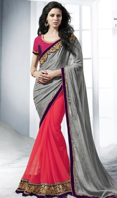 Be a charmer wearing this fuchsia and gray georgette jacquard half n half sari. The amazing attire creates a dramatic canvas with incredible lace and stones work. Upon request we can make round front/back neck and short 6 inches sleeves regular saree blouse also. #PrettyFushiaPinkAndGrayEmbroideredSari