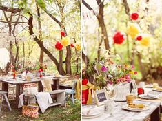 Different angle of the early autumn outdoor dining space. Brightly colored tissue paper pom poms tie in with the pop of color on the table. This entire blog post has inspiring photos with this theme!