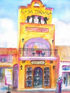 Casa Tequila, Playa del Carmen Mexico: Watercolor Painting by Carlin Blahnik.