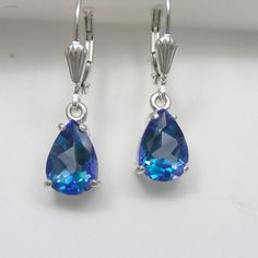 Something blue? Mystic Topaz Earrings Neptune Garden Pear Seashell Sterling Silver Lever back Earrings Mystic Fire Topaz Leverback Ocean Mermaid Jewelry