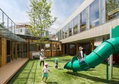 Takeno Nursery | The internal courtyard play area remains open to fresh sunlight and air, yet provides an enveloping enclosure for health and safety