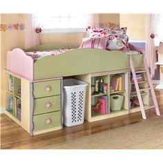 so cute - girls loft bed w/ storage