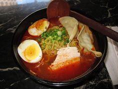 Ramen underground- spicy ramen, added hard boiled egg and dumplings