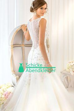 2015 V-Ausschnitt Mermaid Wedding Dresses Tulle Perlen Mieder Pinsel Zug