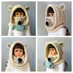 Knit this cute polar bear hood for frigid winter temperatures! Pattern by NuttyPatterns.
