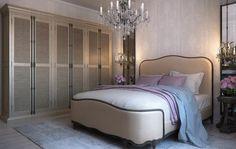 chambre à coucher beige, gris, lustre