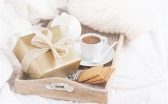 Herunterladen hintergrundbild romantik, frühstück auf dem zimmer, kaffee-geschenk-box, cookies, frühstück