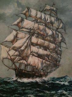 Boat in Ocean Painting
