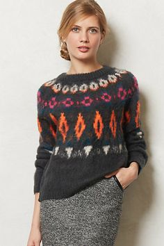 Emerson Sweater #anthropologie.  Pink and orange and fuzzy all over.
