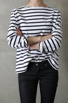 stripes + black skinny's