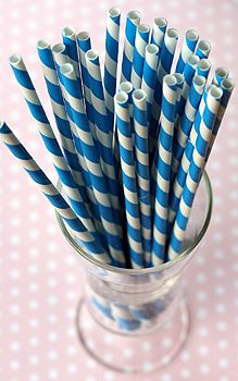 Bake It Pretty: Blue & White Stripe Paper Straws. (Pronounced a la Chris Traeger. Love Blue, Pink Blue, Blue And White, Blue Words, Paper Straws, Something Blue, Perfect Party, My Favorite Color, Shades Of Blue