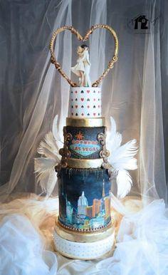 """""""Las Vegas wedding cake"""" for """"Dream wedding locations"""" by Daniel Diéguez - http://cakesdecor.com/cakes/208445-las-vegas-wedding-cake-for-dream-wedding-locations"""