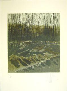 original etching of a landscape 'winter cold II' by Fleurografie, €48.00